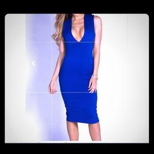 Royal Blue Sleeveless deep V open cross midi dress